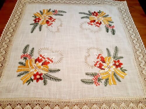 """XMAS 85*85cm Square Embroidered  """"Twin-Candles""""  Linen/Look Polyester Tablecloth"""