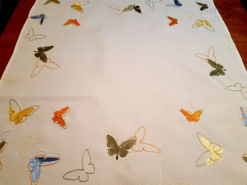"""85*85cm Square Embroidered Polyester  """"Asstd Butterflies """" Tablecloth"""