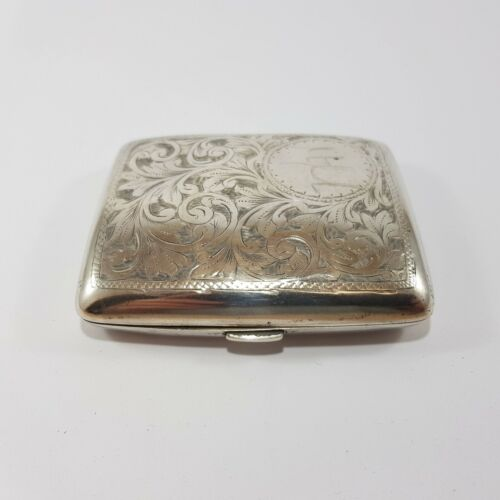 Sterling Silver Cigarette Case Patterson & Sons Birmingham 1917