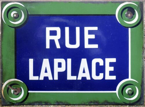 Old French enamel street building sign plaque Laplace centre Paris 5e Sorbonne