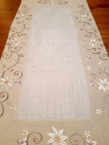 Rectangle Linen/Look 40*135cm  Taupe Vine Floral Table-Runner
