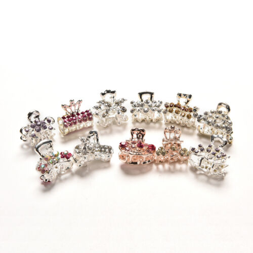 Girls Sweet Crystal Rhinestone Flower Mini Hair Claws Clips Pin Clamps.h