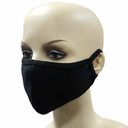 Reusable Face Mask 100% Cotton Washable Breathable Black Nose Mouth Cover <br/> ✔ 2 Day Delivery ✔ Buy 2 Get 1 Free ✔ Best Price