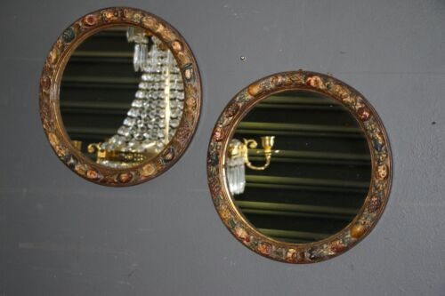 Rare pair round rococo mirrors superb quality wood carving antique gilt details