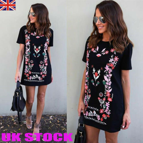 Plus Size UK 6-16 Women Holiday Long Tops Floral Ladies Summer Beach Party Dress