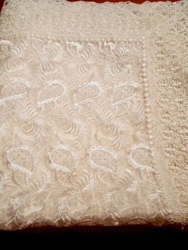 Rectangle 160*230cm Organza/Polyester White  embroidered t/cloth