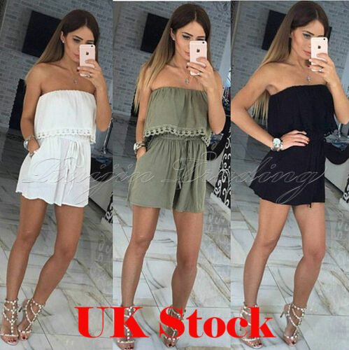 UK Ladies Playsuit Jumpsuit Leaf Shorts Bandeau Elasticated Summer New Womens