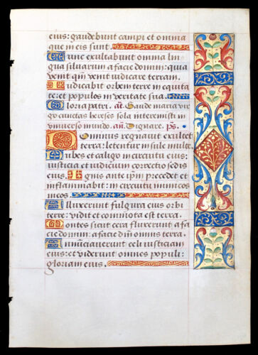 ILLUMINATED MANUSCRIPT BOOK OF HOURS LEAF, BEAUTIFUL BORDERS - ROUEN c.1470