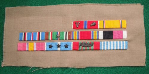 WWII Korea US Army Officer Embroidered Ribbon Bar Bronze Star Croix de GuerreMedals & Ribbons - 4724