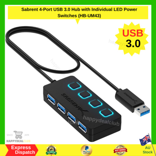 Sabrent 4-Port USB 3.0 Hub with Individual LED Power Switches (HB-UM43) NEW AU