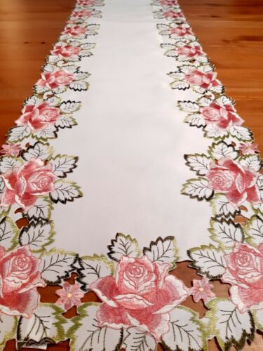 """Rectangle 40*180cm """"Pink Rose/LeafGreen Embroidered/Cutout Polyester T/Runner"""