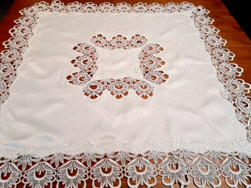 """""""White-Heavy Polyester Lace/Cutout"""" 85*85cm  Square Small Tablecloth"""