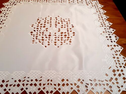 """Square 85*85cm  """"Antique Cream-Cutwork"""" Polyester Embroidered Small T/Cloth"""
