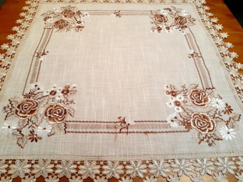 Linen/Look Floral Moccha/Brown Polyester 85*85cm Square T/Cloth