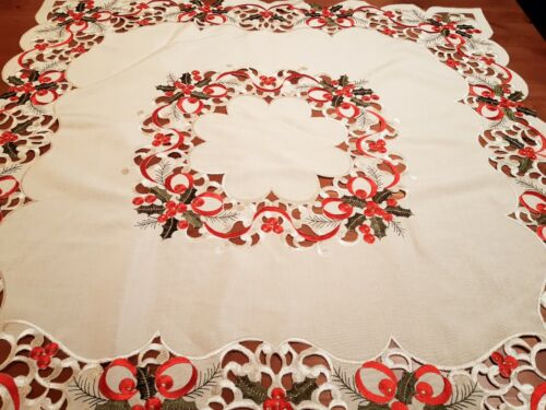 """XMAS 85*85cm Sq Embroidered  """"Ecru-Wreath""""  Linen/Look Polyester Tablecloth"""