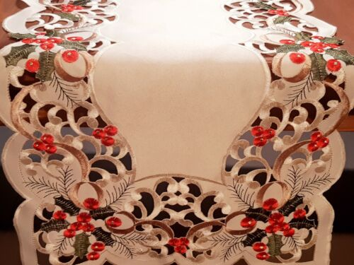 """XMAS 40*135cm Rectangle Embroidered """"Red/Green Cutwork""""  Polyester T/Runner"""