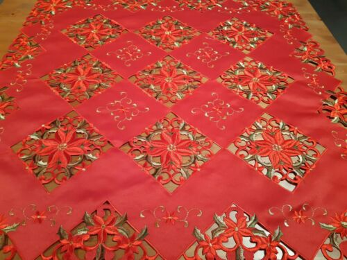 """XMAS 85*85cm Sq Embroidered """"Red/Green Cutwork""""  Polyester Tablecloth"""