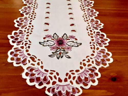 """40*180cm Rectangle Embroidered """"Lilac Floral Cutwork""""  Polyester T/Runner"""
