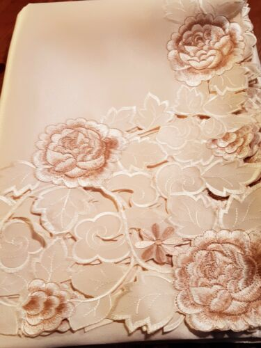 """160*240CM Rectangle HeavyDuty """"Embroidered-Taupe Rose"""" CutworkPolyester T/cloth"""