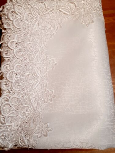 """Rectangle 150*230cm """"Heavy-Duty Lace White""""  Polyester tablecloth"""