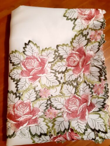 """150*230CM Rectangle Premium """"Embroidered-Pink Rose/Green Leaf"""" PolyesterT/cloth"""