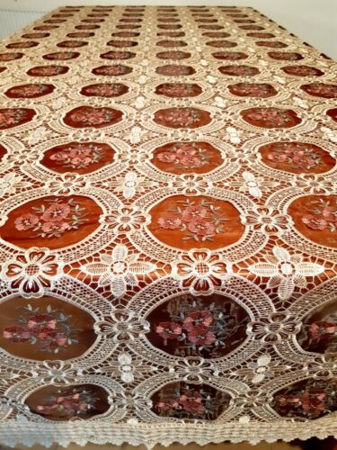 """Rectangle 170*310cm """"Burgundy/Dusk with Bronze Lace"""" embroidered t/cloth"""