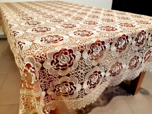 """Rectangle 170*280cm """"Bronze RoseLace with Burgundy Organza"""" embroidered t/cloth"""
