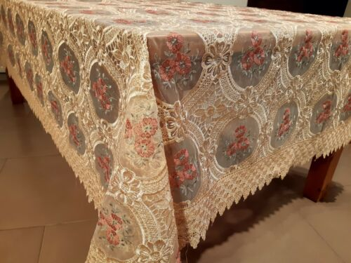 """190*190cm SQUARE """"Bronze Lace with Coral Flower"""" embroidered t/cloth"""
