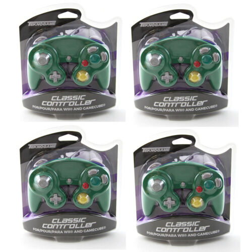 4 X Nintendo GameCube GREEN-BLUE Rumble Controller Teknogame (Wii Wired Gamepad)
