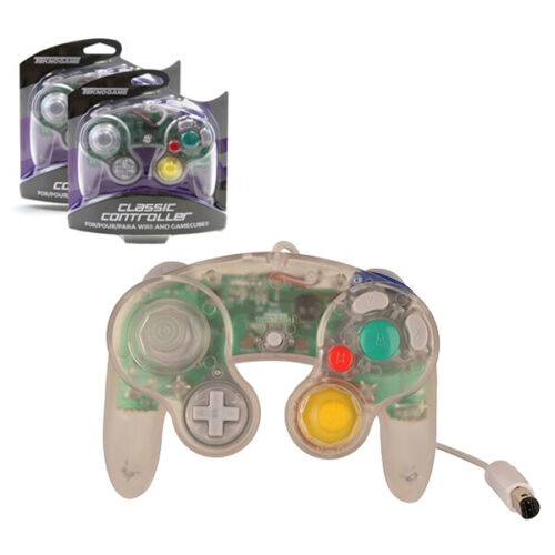 2 X Nintendo GameCube Clear Rumble Controller Pad Teknogame (Wii Wired Gamepad)