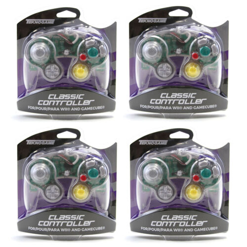 4 X Nintendo GameCube CLEAR Rumble Controller Pad Teknogame (Wii Wired Gamepad)