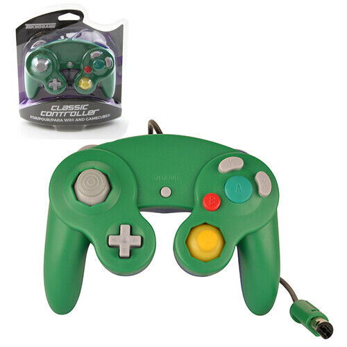 GameCube GREEN-BLUE Rumble Controller Teknogame New (Wii Wired Gamepad)