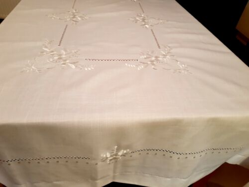 180*300cm Rectangle(Casablance)  Embroidered White  Premium Polyester T/Cloth