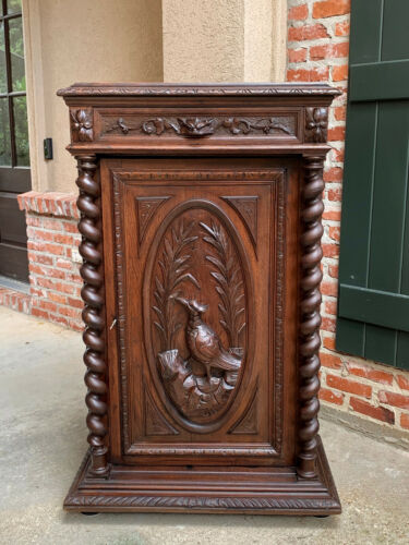 Antique French Carved Oak Hunt Cabinet Bookcase Barley Twist Black Forest Bird
