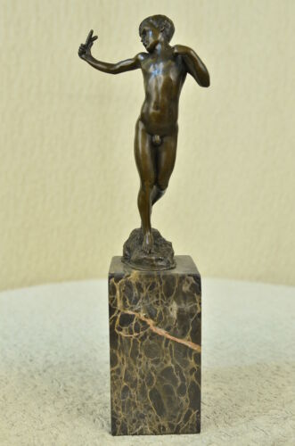 Signed Original Milo Nude Boy Sling Shot Bronze Statue Sculpture Figure Figurine