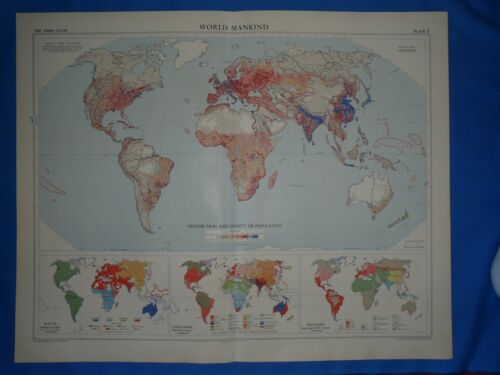 Vintage 1958 Atlas Map ~ WORLD MANKIND - RACES ~ Old Authentic ~ Free S&H