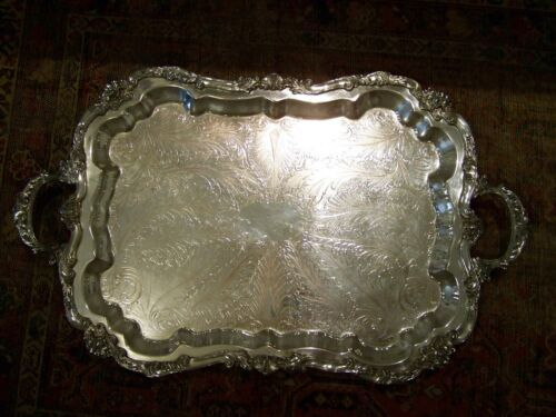 FOOTED ENGLISH GEORGIAN STYLE HANDLED SILVER WAITER BAR SERVING TRAY - NO MONO