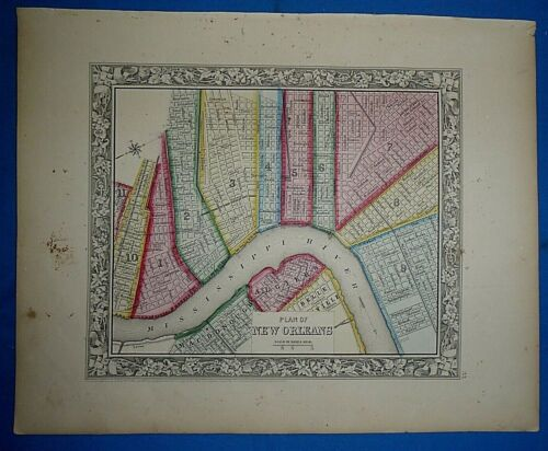 Antique 1863 S A Mitchell New General Atlas Map ~ NEW ORLEANS ~ Old Authentic