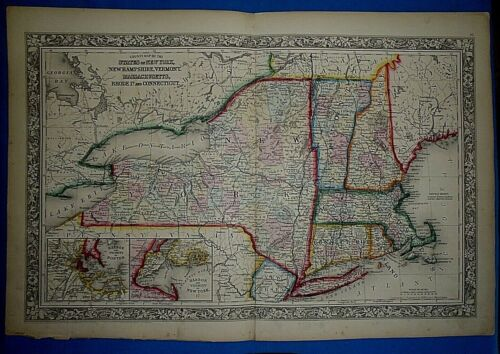 Antique 1863 Mitchell's New General Atlas Map ~ NEW YORK & SOUTHERN NEW ENGLAND