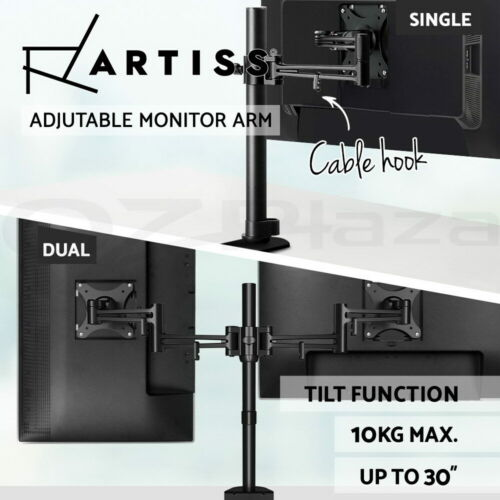 Artiss Monitor Stand Arm Dual Single Stand Desk Mount HD LCD TV Screen Computer