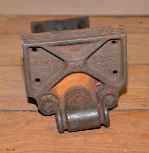 """Antique woodworking bench vise Columbian 5-C opens 10"""" collectible vintage toolVises, Clamps - 104041"""