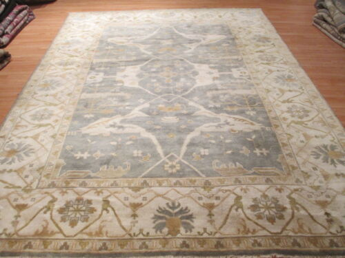 9x12 MUTED ALLOVER-PATTERN OUSHAK VEGETABLE DYE HANDMADE-KNOTTED WOOL RUG 580243