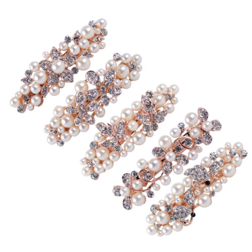 7cm Women Girl Bridal Crystal Rhinestone Pearl Hair Clip Barrette Hairpin Clamp