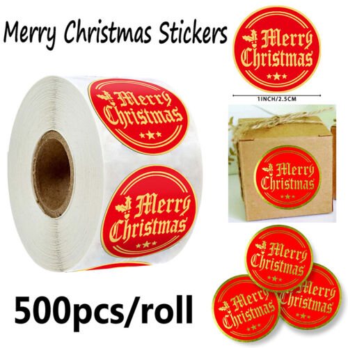 Round 500pcs Merry Christmas Stickers Gifts Packaging Sealing Labels Xmas Dec:0