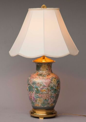 LARGE CHINESE BRASS / CERAMIC TABLE LAMP FLORAL BUTTERFLY'S VGC