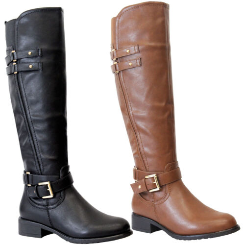 Ladies Faux Leather Knee High Boots Women Flat Heels Long Riding Calf Shoes Size