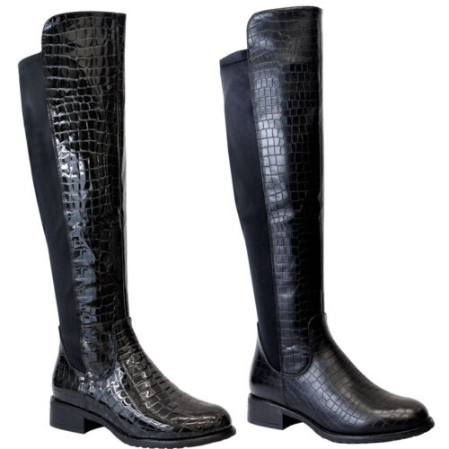 Ladies Over The Knee High Boots Womens Flat Heels Stretch Calf Riding Shoes Size