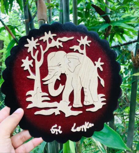 Wall Hanger Elephant Carved Frame Wall Art Picture Hall Decor Bedroom office