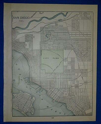 Vintage 1903 Atlas Map ~ SAN DIEGO, CALIFORNIA ~ Old & Authentic ~ Free S&H