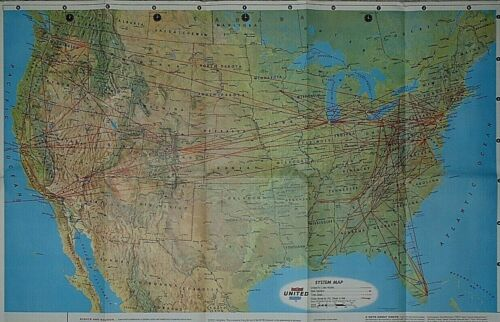 1967 Vintage Air Atlas Map ~ UNITED AIRLINES ~ UNITED STATES ROUTE / SYSTEMS MAP